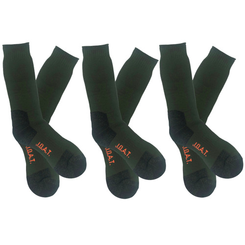 Men's PK3 Thick Bamboo Outdoor Socks- Olive