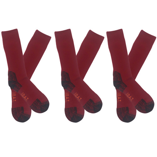 Men's PK3 Thick Bamboo Outdoor Socks- Ruby Red