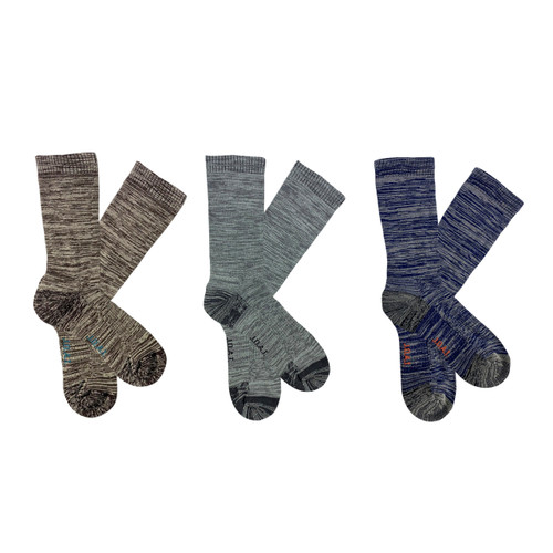 Men's PK3 Top to Toe Cotton Health Comfort Socks- Spacedye