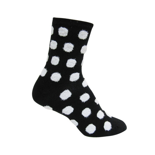 Women's PK1 Fluffy Yarn 1/4 Crew- Spots