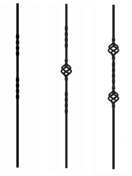 Twist and Basket Iron Balusters