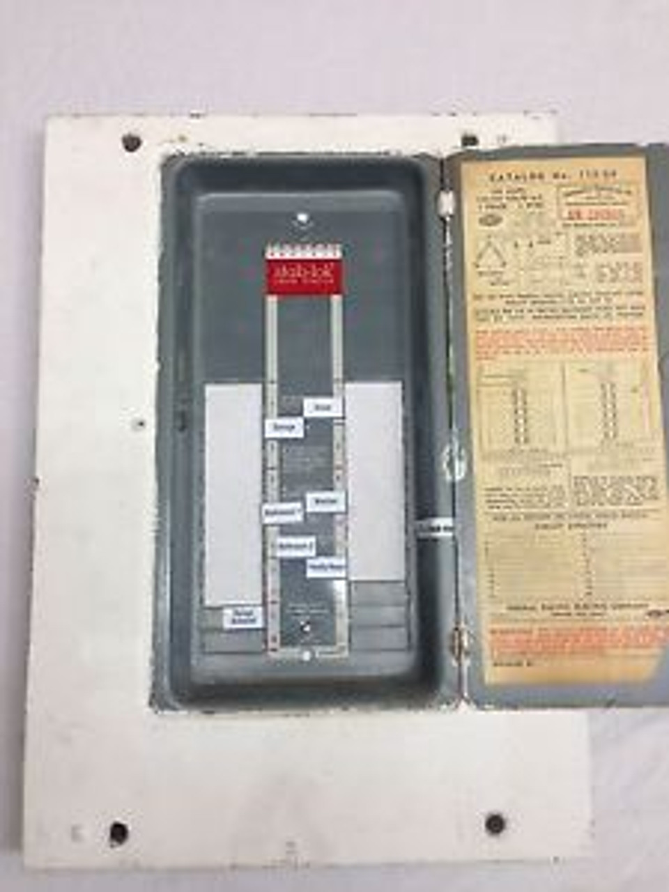 federal pacific 112-20 fpe 100 amp electric panel cover fuse box stab-lok -  spw industrial  spw industrial