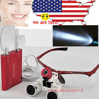 50Sets Red 3.5X 420Mm Optica Glasses Dental Surgical Loupes + Led Head Light New