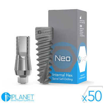 50X Dental Implant Spiral + Straight Abutment Standard With Screw Internal Hex