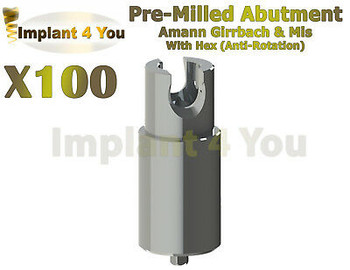 100X Dental Amann Girrbach Mis Abutment Pre-Milled With Hex + Screw Rp