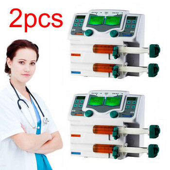 2X Medical Digital Injection Pump Syringe Pump Double Channel Lcd S &Voice Alarm