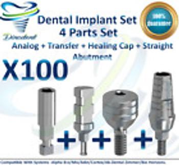 X100 Dental Set Analog+Transfer+Healing Cap+Straight Abutment For Dental Implant