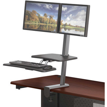 Balt Up-Rite Desk Mounted Sit/Stand Workstation With Dual Monitor Mount