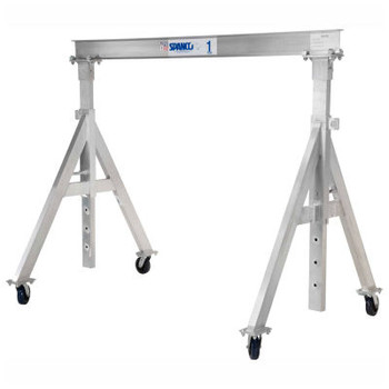 "1 Ton Cap., Spanco, Aluminum Gantry Crane, 18 ft. Span,  Adj Height 6'-11""min. 9'-5""max."