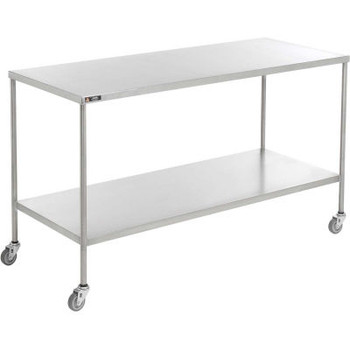 "AERO Stainless Steel Instrument Table with H-Brace, 36""L x 20""W x 34""H"