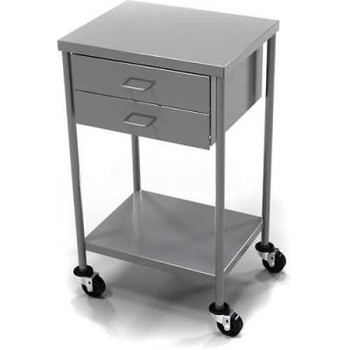 AERO Stainless Steel Anesthesia Utility Table with 2 Drawers & Flat Top Shelf