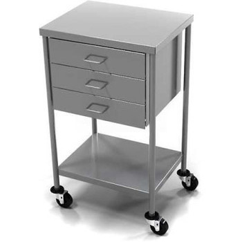 AERO Stainless Steel Anesthesia Utility Table with 3 Drawers & Flat Top Shelf