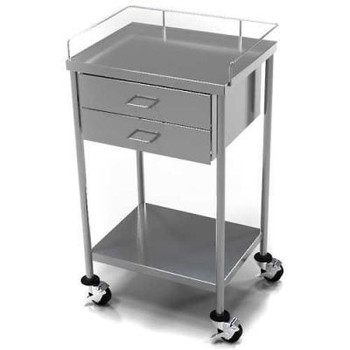 AERO Stainless Steel Anesthesia Utility Table with 2 Drawers & Guard Rail Top Shelf