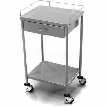 AERO Stainless Steel Anesthesia Utility Table with 1 Drawer & Guard Rail Top Shelf