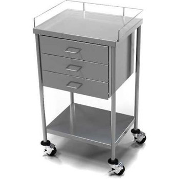 AERO Stainless Steel Anesthesia Utility Table with 3 Drawers & Guard Rail Top Shelf