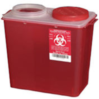 Plasti-Products 146008 8-Quart Big Mouth Sharps Container, Red, Case of 20