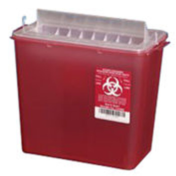 Plasti-Products 141020 5-Quart Sharps Container, Horizontal Entry, Red, Case of 20