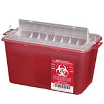 Plasti-Products 145004 4-Quart Sharps Container, Horizontal Entry, Red, Case of 25