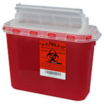 Plasti-Products 143154 5.4 Qt. Sharps Container, For Use with BD-Wall Cabinet, Red, Case of 20