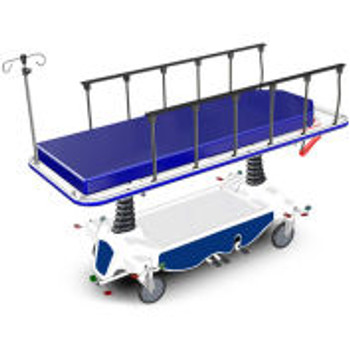 "NK Medical Hydraulic Transport Stretcher NK8002, 4 "" Mattress, 8 "" Locking Casters"