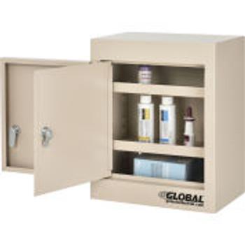 """Global Industrial ™Small Narcotics Cabinet, Double Door/Double Lock, 12 """"W X 8 """"D X 15 """"H, Beige"""