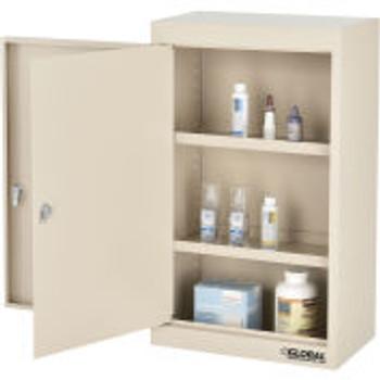 """Global Industrial™Large Narcotics Cabinet, Double Door/Double Lock, 18 """"W x 10 """"D x 30 """"H, Beige"""