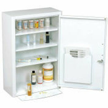 """Global Industrial-Medicine Cabinet with Pull-Out Shelf, 18 """"W x 8 """"D x 27 """"H, White"""