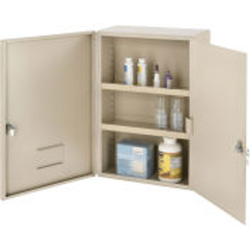 """Global Industrial?Ömedium Narcotics Cabinet, Double Door/Double Lock, 16 """"W X 8 """"D X 24 """"H, Beige"""