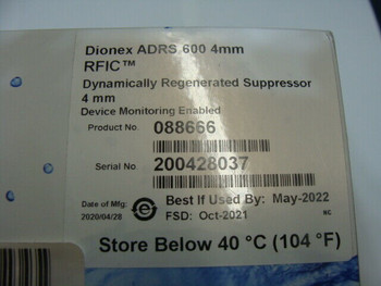 Thermo Scientific DIONEX ADRS 600 4MM RFIC P/N 088666