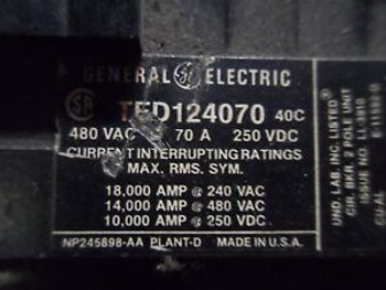 (V12) 1 USED GENERAL ELECTRIC TED124070 70A CIRCUIT BREAKER