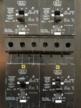 (1) Edb34040 Square D Three Phase Circuit Breaker