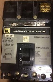 (1) SQUARE D FA32100 CIRCUIT BREAKER 3 POLE 100 AMP