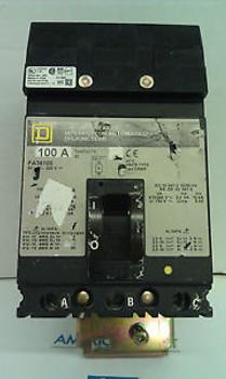 Used Square D I line circuit breaker FA36100 100 amp 3 pole 600 volt  grey label