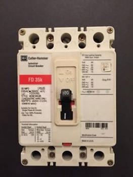 (1) Fd3100L Cutler Hammer Three Phase 100amp Circuit Breaker 91