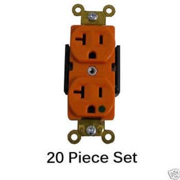 20/Pk Hospital Grade 20A Duplex Receptacles 5-20R Outlet 125V Plug 62020-Orange