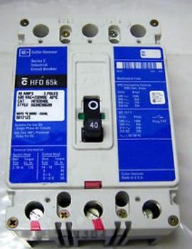 (4381) Cutler Hammer Circuit Breaker HFD3040L 40A 3P 600V