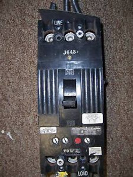 GE TFK TFK236F000 3 pole 110 amp trip 600V Breaker shunt trip chipped