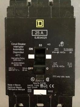 (1) Ejb34025 Square D Three Phase Circuit Breaker