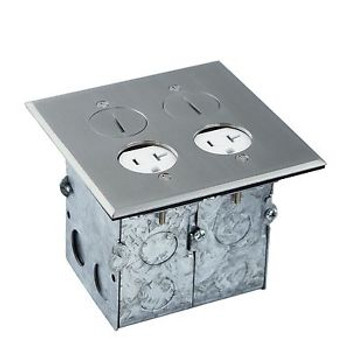 2Gang Divided Recessed FloorBox 705510-SS Stainless Steel W/ 2 20A TR Receptacle