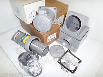 New Appleton Acp1044Cd&Adr1044 100-Amp Generator Plug&Receptacle&2Back Box 100A