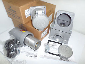 New Appleton Acp1034Cd&Adr1034 100-Amp Welder Plug&Receptacle & 2 Back Box 100A