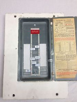Federal Pacific  112-20 FPE 100 amp Electric Panel Cover Fuse Box Stab-Lok