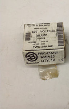 (10) Bussmann FWC-25A10F, 25 Amp,  600V Fuse Fuses. NEW IN BOX