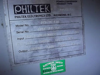 PIV 3K 120 Philtek Inverter IN: 105 to 142 VDC 35A Max OUT: 120VAC 3 KVA Max