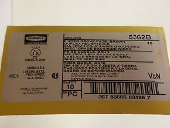 (1) BOX OF (10) HUBBELL 5362B BROWN DUPLEX RECEPTACLE 20A 2 POLE FREE US SHIP