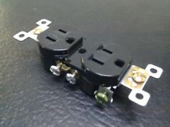 (100 pc) NEW Standard Duplex Receptacles 15 Amp Black 15A Self Grounding