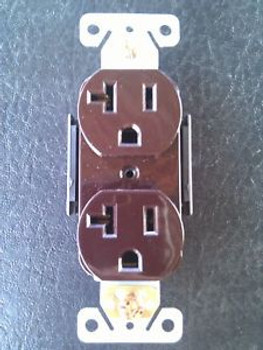 (100 Pc) Standard Duplex Receptacles 20 Amp Brown Self Grounding 20A Outlets