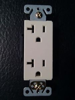 (100 Pc) Decorator Duplex Receptacles 20 Amp Almond Self Grounding 20A Outlets