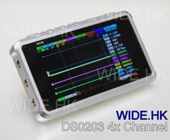 ARM  DSO203 Digital oscilloscope 4 channel (Aluminum Case) ,Silver