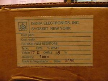 1 reel (4000 pcs) ISKRA 47K ohm 1/2 Watt 5% Carbon Film Resistors
